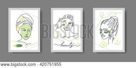 Asian Skin Whitening Conceptual Art Illustration. Spa, Cosmetology Cabinet Decor. Woman Face Line Ar