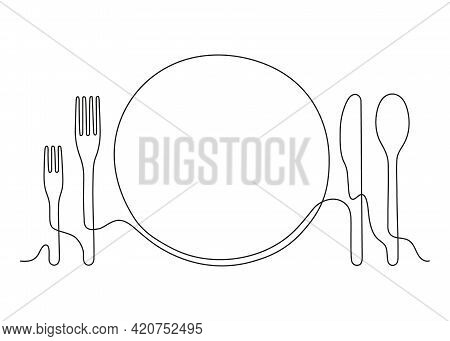 Plate Lunch With Fork And Spoon For Food, Continuous Outline. Plate, Knife, Spoon And Fork For Dish.