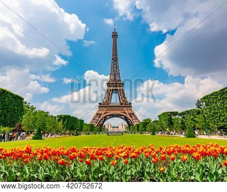 Eiffel Tower And Spring Tulips On Field Of Mars, Paris, France