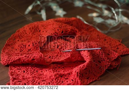 Crochet Work With Brown Cotton Yarn. Needlework In Progress