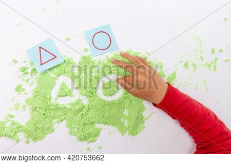 Sand Tray Writing, Shape Or Letter Practice For Kids, Preschool Writing Activity, Kids Hands, Top Vi