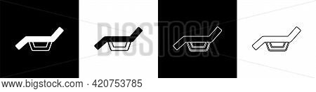 Set Sunbed Icon Isolated On Black And White Background. Sun Lounger. Vector