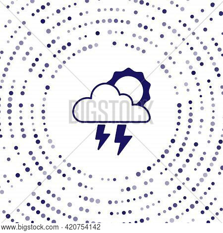 Blue Storm Icon Isolated On White Background. Cloud With Lightning And Sun Sign. Weather Icon Of Sto