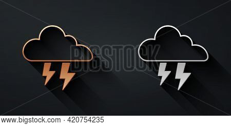 Gold And Silver Storm Icon Isolated On Black Background. Cloud And Lightning Sign. Weather Icon Of S
