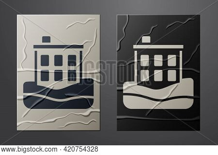 White House Flood Icon Isolated On Crumpled Paper Background. Home Flooding Under Water. Insurance C