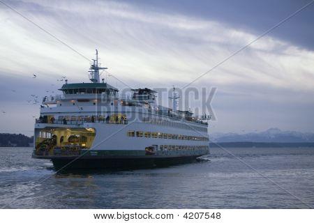 Washington State Ferry Winter Sunset
