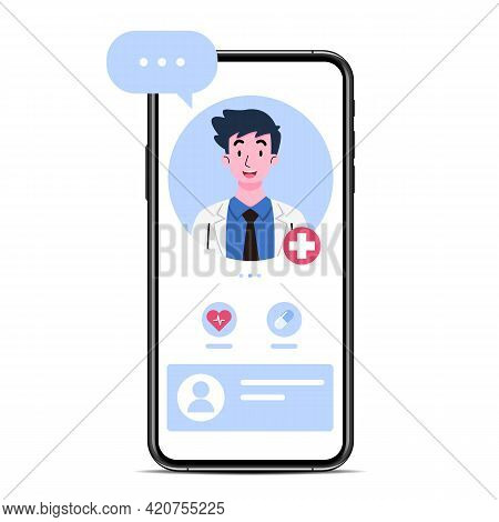 The Smartphone With A Doctor Or Male Therapist On Screen, Chat And Advise An Online Consultation. On