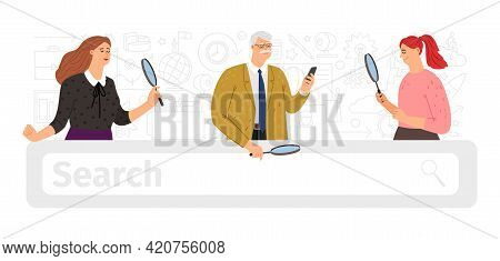 Search Bar. People Searching, Ask Internet Browser Or Artificial Intelligence. Diverse Age Persons L
