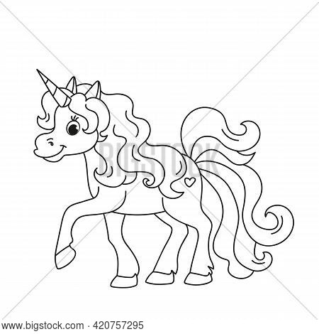 Cute Fabulous Unicorn With Lush Mane Outlined For Coloring Book Isolated On A White Background. Deve