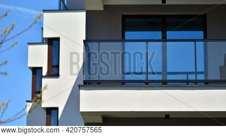 Condominium And Apartment Building With  Symmetrical Modern Architecture. Detail In Modern Residenti