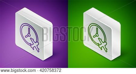 Isometric Line Clock With Airplane Icon Isolated On Purple And Green Background. Designation Of Time