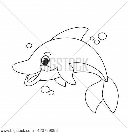 Cute Dolphin. Children S Cartoon Coloring Book. Black And White Vector Illustration With Cute Dolphi