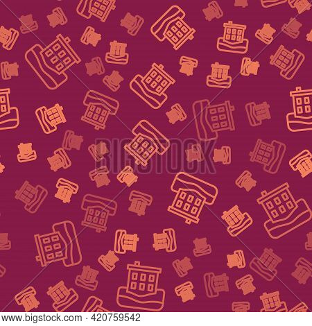 Brown Line House Flood Icon Isolated Seamless Pattern On Red Background. Home Flooding Under Water.