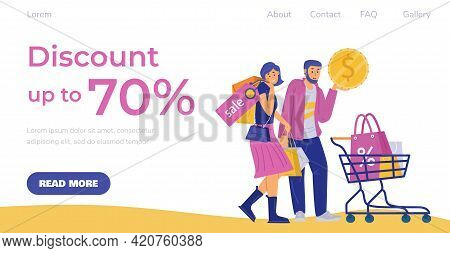 Discount Event Advertising Web Page With Shoppers, Flat Vector Illustration.