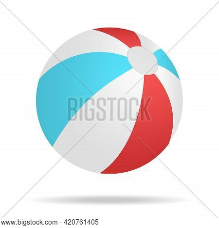 Beach Ball, Realistic Cartoon Illustration. Isolated Beach Ball Isolated On White Background With Sh