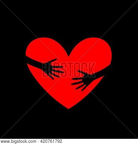 World Heart Day Typographical Design Elements And Red Heart Shape With Hand Embrace.hugs And Love Yo