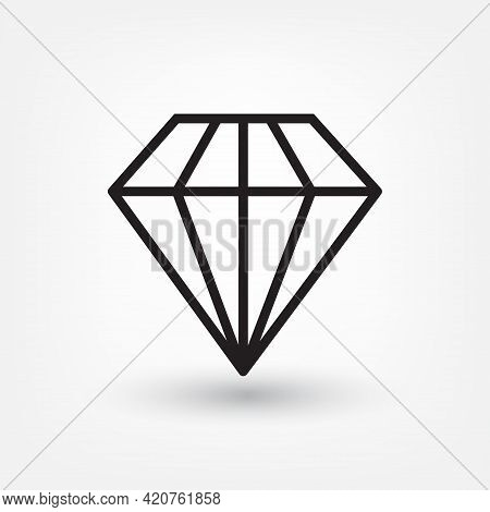 Diamond Line Icon, Outline Vector Sign, Linear Style Pictogram Isolated On Grey. Gemstone Symbol, Lo