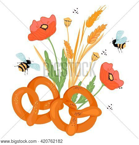 Pretzels With Ears, Poppy Flowers And Other Plants Elements, Flat Vector Illustration Isolated On Wh
