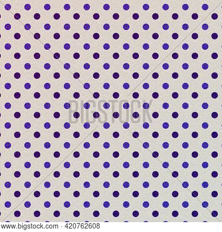 Purple Polka Dots On Beige Background Pattern For Design Elements And Backdrops.  Medium And Light S