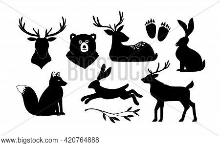 Linear Vector Collection Of Silhouette Of Animals. Wild Forest Animal Deer, Rabbit, Bear, Fox, Anima