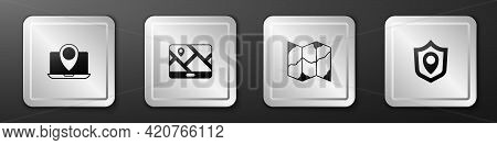 Set Laptop With Location Marker, City Map Navigation, Folded And Location Shield Icon. Silver Square