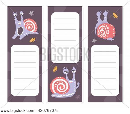 Lined Cards With Cute Snail Character As Gastropod With Coiled Shell Vector Template