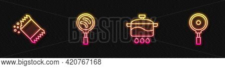 Set Line Cooking Pot, Packet Of Pepper, Frying Pan And . Glowing Neon Icon. Vector