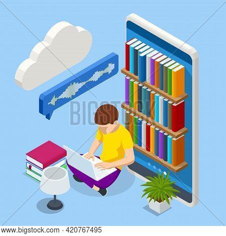 Isometric Audiobooks Concept. Listening To E-books In Audio Format. Books Online. Online Training Ba