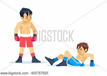 Winner And A Loser Boxers. Beaten Boxer Lying On The Floor During A Boxing Battle, Having A Knockdow