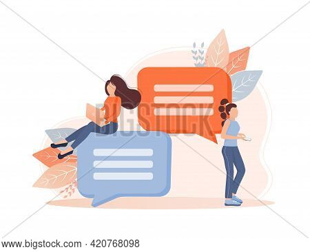 Chat People For Concept Design. Vector Text. Business People Teamwork. Social Media Concept. Flat Ve