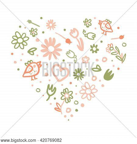 Tender Spring Hand Drawn Flowers In Heart Vector Arrangement