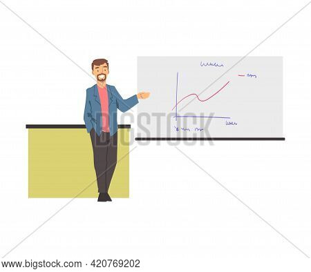 Training With Man Instructor Showing Graph On White Flipchart Vector Illustration