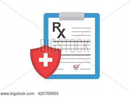 Rx Prescription Form Vector Icon, Medical Paper Document And Insurance Isolated On White Background.