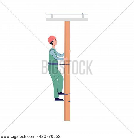 Electrician Repairing Power Transmission Line, Flat Vector Illustration Isolated.