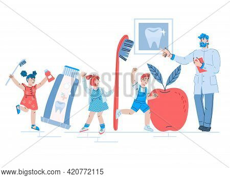 Pediatric Dentist Advicing Children About Dental Care And Tooth Health. Design For Pediatric Dentist