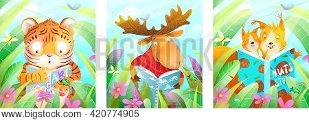 Animals Reading A Book In The Forest Among Green Leaves And Grass, Studying And Learning Posters Col