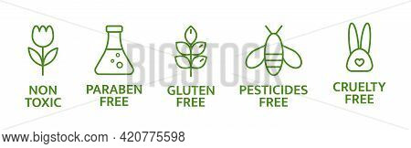 Natural And Organic Cosmetic Line Icons. Skincare Symbol. Allergen Free Badges. Beauty Product. Glut