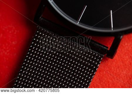 Close-up Part Of The Watch And Metal Strap.