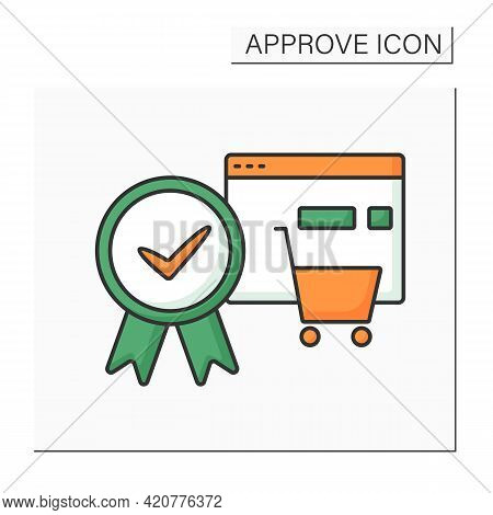 Approve Order Color Icon. Online, Offline Shopping. Pending Shopping Cart Requests And Approve Entir