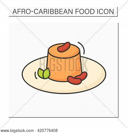 Moin-moin Color Icon. Traditional Nigerian Steamed Bean Pudding. Afro-caribbean Food.local Food Conc