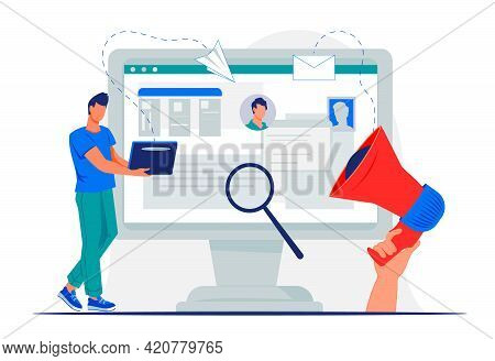 Recruitment And Job Searching With Man Applying Resume Online, Flat Vector.