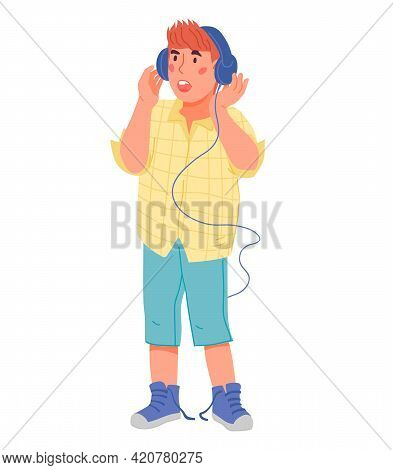 Cute Child Boy Singing In Headphones Flat Vector Illustration Isolated On White.