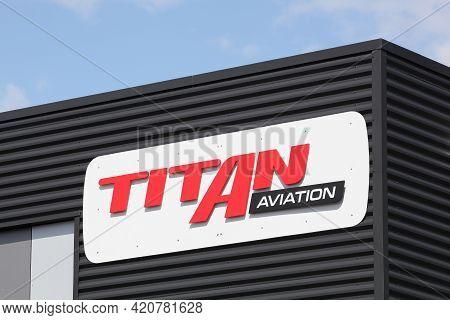 Arnas, France - September 6, 2020: Titan Aviation Office Building. Titan Aviation Is An Aviation Ser