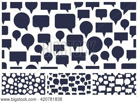 Speech Bubbles Seamless Vector Background Set, Endless Pattern With Dialog Signs, Talk And Discussio