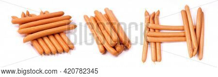 Tasty sausages on a white background.