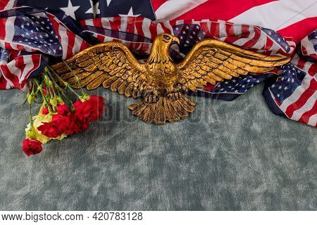 American Flag On Memorial Day Honor Respect Patriotic Military Us In Pink Carnation In The American