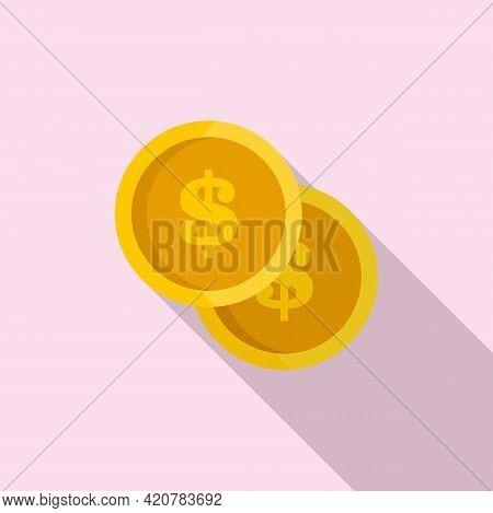 Bank Teller Dollar Coins Icon. Flat Illustration Of Bank Teller Dollar Coins Vector Icon For Web Des
