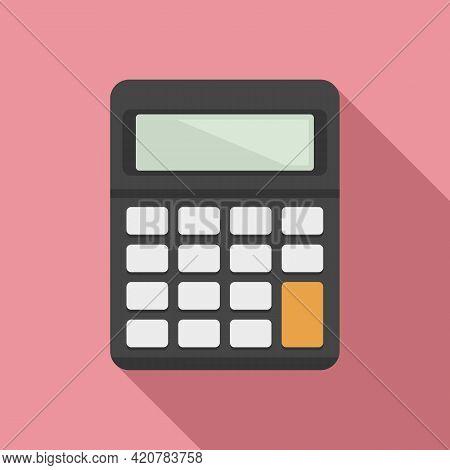 Bank Teller Calculator Icon. Flat Illustration Of Bank Teller Calculator Vector Icon For Web Design
