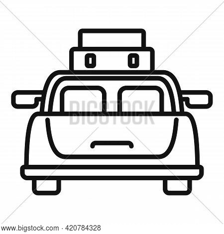 Hitchhiking Car Sedan Icon. Outline Hitchhiking Car Sedan Vector Icon For Web Design Isolated On Whi