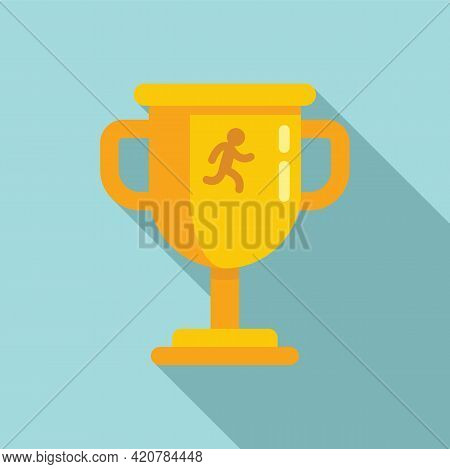 Running Gold Cup Icon. Flat Illustration Of Running Gold Cup Vector Icon For Web Design